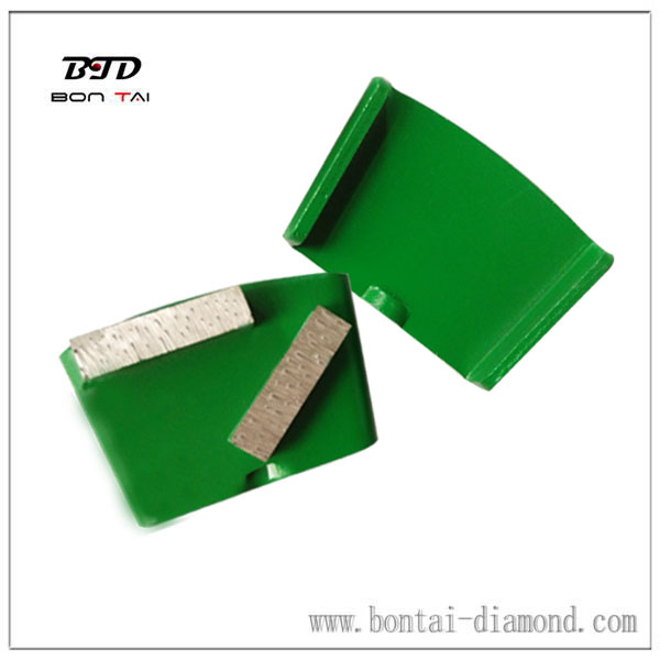 Diamond tool HTC grinding shoes with two rectangular segments for grinding concrete and terrazzo