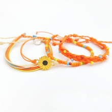 Braided Rope Bracelet Waterproof String Ocean Surfer Bracelet Beaded Boho Women Sunflower Charm