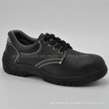 Sapatos de segurança de homens de dedo de pé de couro de couro