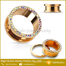 Aurora Borealis Rose Gold Plated vis acier chirurgical oreille Fit Flesh Tunnels jauges