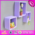 2015 Best Colourful Cube Wall Shelf, MDF Round Cube Wall Shelf Purple, 3 Sets Round Corner Cube Wood Storage Wall Shelf W08c104e