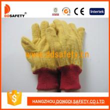 Golden amarillo Chore guante tejidos guantes de seguridad muñeca (dcd103)