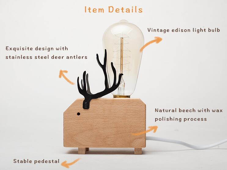 wooden animal table lamp