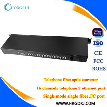 16-channel telefone fxs para fxo pots (rj11) linha telefônica sobre conversor de fibra