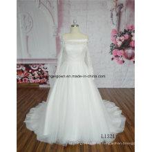 Кружева с плеча свадебное платье с длинным рукавом