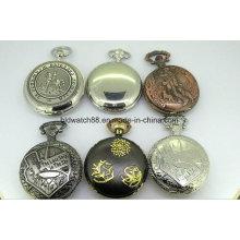 Relógio de bolso de liga de quartzo barato com corrente
