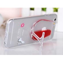 Caisse de téléphone portable de support liquide de verre de vin rouge pour l'iPhone 6
