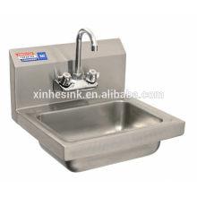 Dissipador comercial da lavagem da mão com Backsplash, dissipador comercial de aço inoxidável do respingo para a restauração