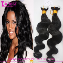 "Top quality virgin Russian wavy hair tape extensions 10""-30"" 100% unprocessed cheap wholesale tape hair extensions"