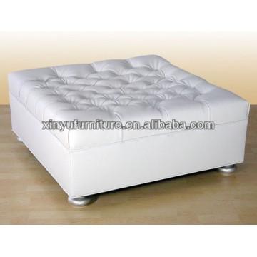 Square shape white leather stool XY0315