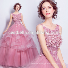 Princesa dulce vestido de baile rosa oscuro Cenicienta vestido de baile con corsé espalda 2017