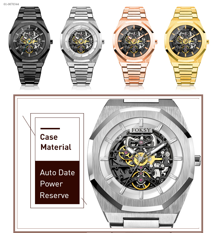 Luxury Skeleton Automatic Movement OEM Watch For Men