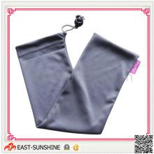 Soft Touch microfibra bolsa de cordón con impresión de logotipo y perlas