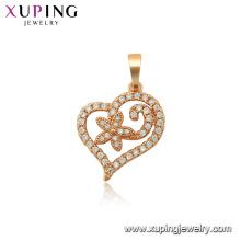 34102 xuping moda banhado a ouro em forma de coração multi pingente de pedra
