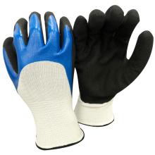 NMSAFETY anti-huile légère utilisation de nitrile sableux sur les gants de travail de la paume