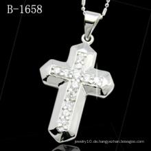 Modeschmuck Mikro-Einstellung 925 Silber Kreuz Anhänger