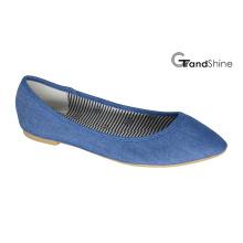 Frauen-Denim-Stoff flache spitze Zeh-Ballett-Schuhe