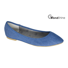 Mulheres Denim Tela Flat Pointed Toe Ballet Shoes