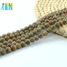 L-0134 China Unakite suelta unakite al por mayor, cuentas verdes de piedras preciosas