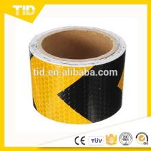 Adhesivo reflectante de cinta adhesiva de advertencia de flecha amarilla negra