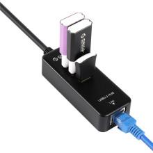 Centrale USB ORICO HR03-U3 SuperSpeed 3 ports et adaptateur USB 3.0 à RJ45 Gigabit Ethernet
