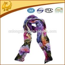 Lady Pattern 12 milímetros de tamanho longo lenço de seda com lenço impresso digital