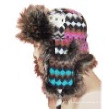 Chapeau d'hiver avec fourrure artificielle (VT033)