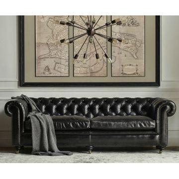 Надежные и удобные Честерфилд ретро используется кожаный диван
