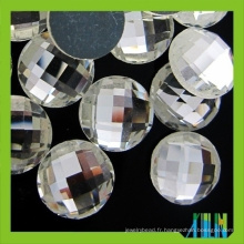 En gros 25mm rond dos plat verre pierre pour bijou