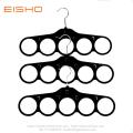 5 Holes Black Velvet Ties Belt Scarf Hanger