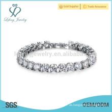 Platin Kristall Silber Armband, Armbänder für Frauen Silber