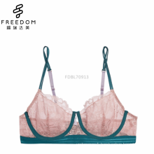 Sexy and comfortable lady new design image s lace underwire bra and thog panty set