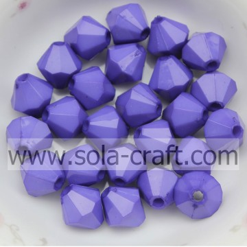 Colorful Faceted Diamond Bicone Opaque Acrylic Beads