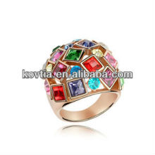 Latest style high grade plated gold colourful Austrian crystal ring vners