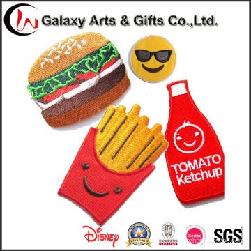 Nueva producción hamburguesa parche personalizado bordado parches lindo parche