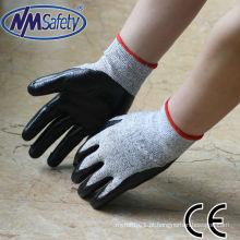 NMSAFETY luva de mão resistente ao corte, revestida a níquel preto EN388 4342