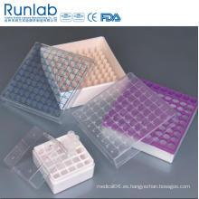 1ml a 2ml Cajas de almacenamiento Cryovial Tube con 100 pozos