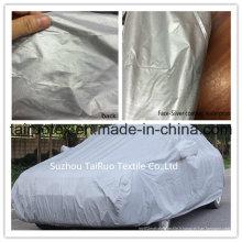 Couverture extérieure de voiture de tissu enduit argenté avec haut imperméable