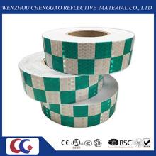 La bande réfléchissante fluorescente de PVC de conception de grille de haute intensité a imprimé avec le film latéral en cristal