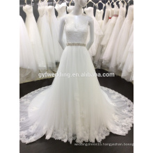 Real Pictures Scoop Neck Lace Appliqued Beaded Alibaba Wedding Gowns Open Back Long Tail Wedding Dresses A032