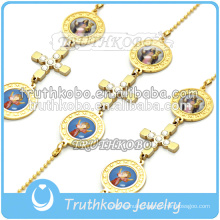 jewish rosary bracelet gold Religious Cross Virgin Mary Christian Chain Bracelet dongguan factory handmade