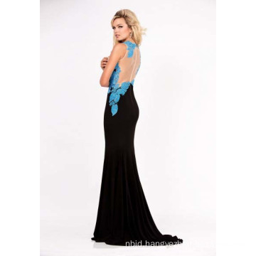 Embroidered Lace Jersey Evening Dress
