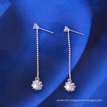 Rhodium Plated Long Chain Magic Ball Zircon Fashion Earring (22933)