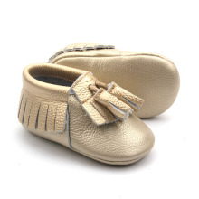 Moccasins Soft Baby Shoes Läder Casual sko