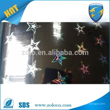 2016 hot sale custom design PET self adhesive transparent holographic film