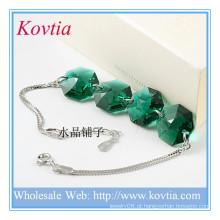 Alibaba china pedra preciosa fornecedor austríaco cristal sterling silver charme pulseira