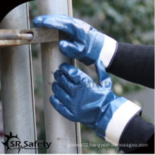 SRSAFETY cheap price/jersey liner blue nitrile fully dipping oil industrial glove/hand gloves