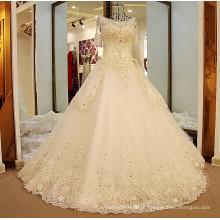 LS54420 Meia luva de pérolas de corda longa com trajes de halloween vestido de casamento camo noiva de casamento