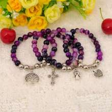 Natural Purple Agate Bracelet Gemstone jewelry alloy pendants