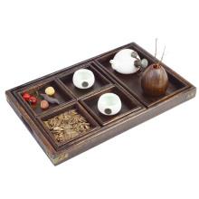 barato bandeja de madeira rústica do serviço para a bandeja de madeira retangular do chá e do café